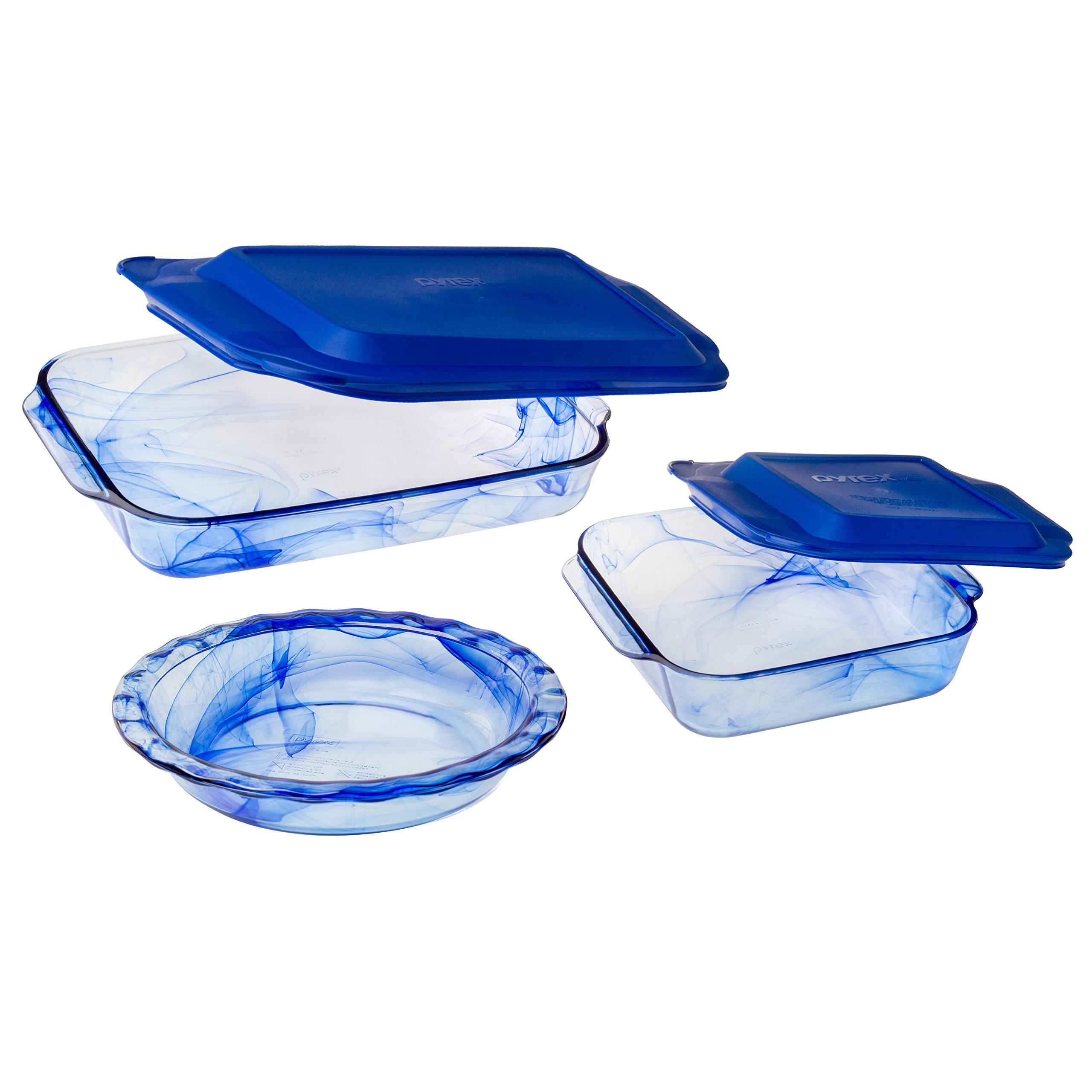 Pyrex 1127972 5 Piece Watercolor Collection Bakeware Set, Blue Lagoon by Pyrex