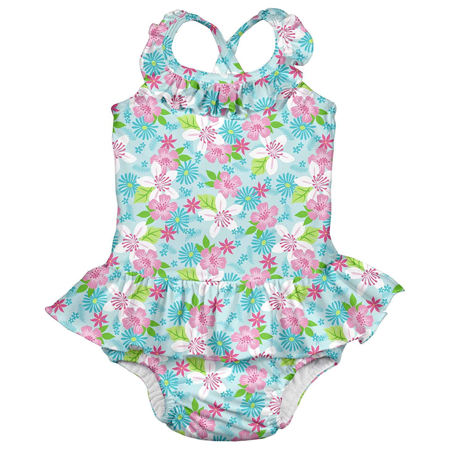 23eeb6058d Baby Girls 1pc Ruffle Swimsuit with Built-in Reusable Absorbent Swim Diaper,  Light Aqua Paradise Flower, 24month Online at Low Prices in India -  Amazon.in