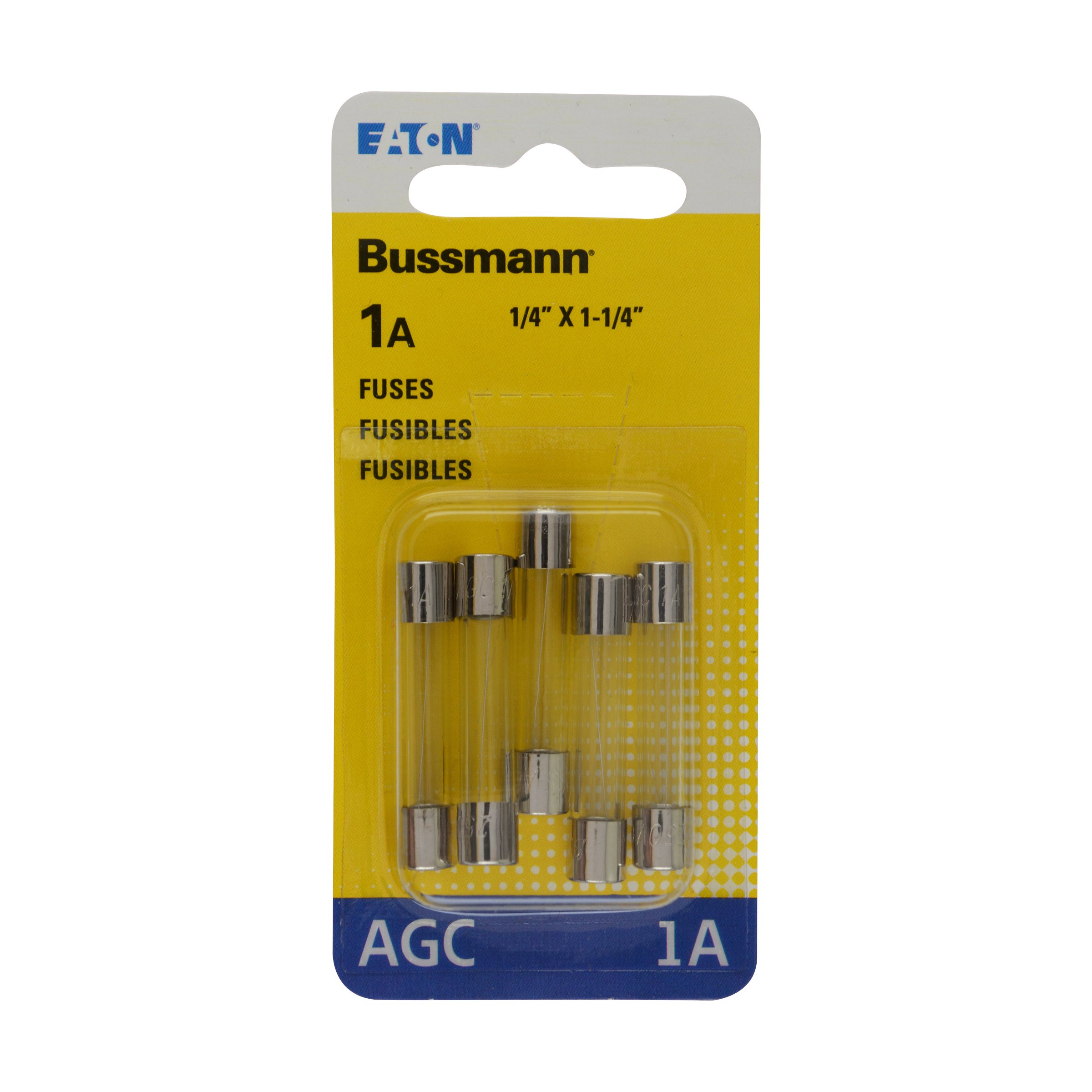 Bussmann BP/AGC-1 1 Amp Fast Acting Glass Tube Fuse, 250V UL Listed Carded, 5-Pack