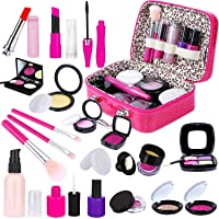 INNOCHEER Kids Pretend Makeup Kit with Cosmetic Bag for Girls 4-10 Year Old - Including Pink Brushes, Eye Shadows, Lipstick, Mascare, Gittler Pot, Liquid Foundation, Nail Polish and More(Not Real)