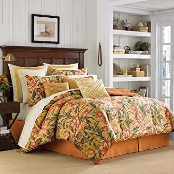 8 piece queen comforter set target macys size sets tropical lily golden yellow with sheets included