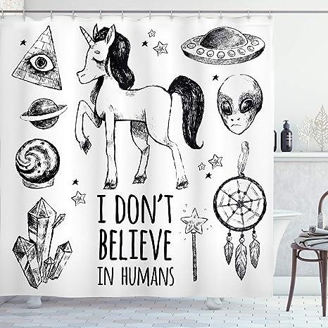 Amazon Com Joocar Unicorn Shower Curtain Mysticism Occult Featured Set With Pyramids Aliens Dream Catcher Grunge Print Artwork Fabric Bathroom Decor Set With Hooks Black Home Kitchen