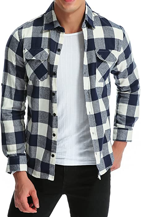 9ba28931a88b6 MODCHOK Hombre Camisa a Cuadros Casual de Franela Manga Larga Shirt Algod¨n  Slim Fit