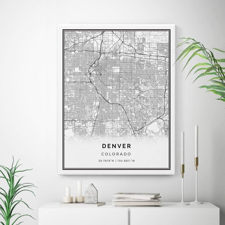 Squareious Sale Denver Map Canvas Print Colorado Art Wall Maps Branded goods City