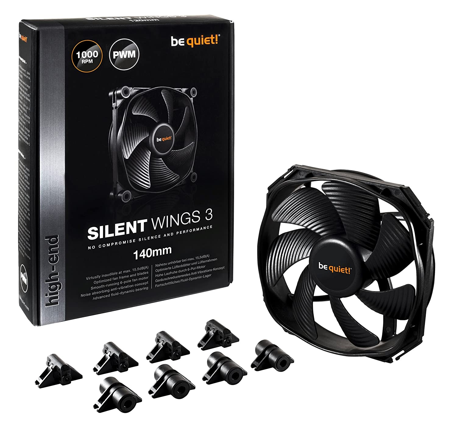 be quiet! Silent Wings 3 140 mm PWM PC Case Fan - Black