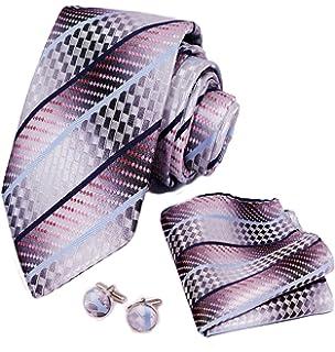 Zakka Republic Mens Business Tie Pocket Square and 3 Tie Clip Set Cufflinks