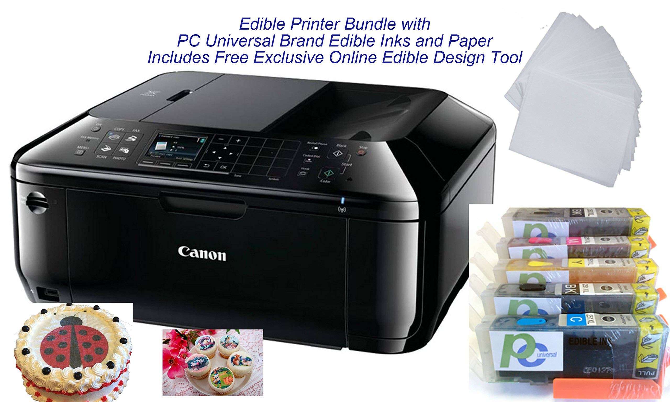 Edible Printer Bundle- Brand New Canon All-in-One Printer with Edible Paper and Inks by PC Universal by PC Universal
