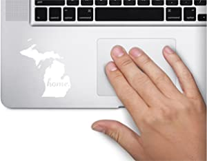 ExpressDecor #2Home Michigan State Name Keypad Computer Laptop Symbol Decal Family Love Car Truck Sticker Window (White)