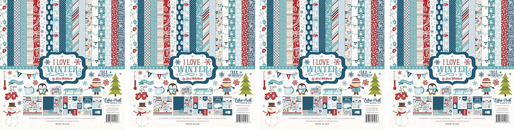 Echo Park Paper Company ILW115016 I Love Winter Collection Kit (4-Pack)