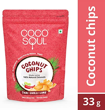 Coco Soul Coconut Chips, Thai Chilli Lime, 33g