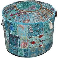 Indian poef kruk vintage patchwork verfraaid met patchwork-woonkamer osmanische cover, 46 x 33 cm