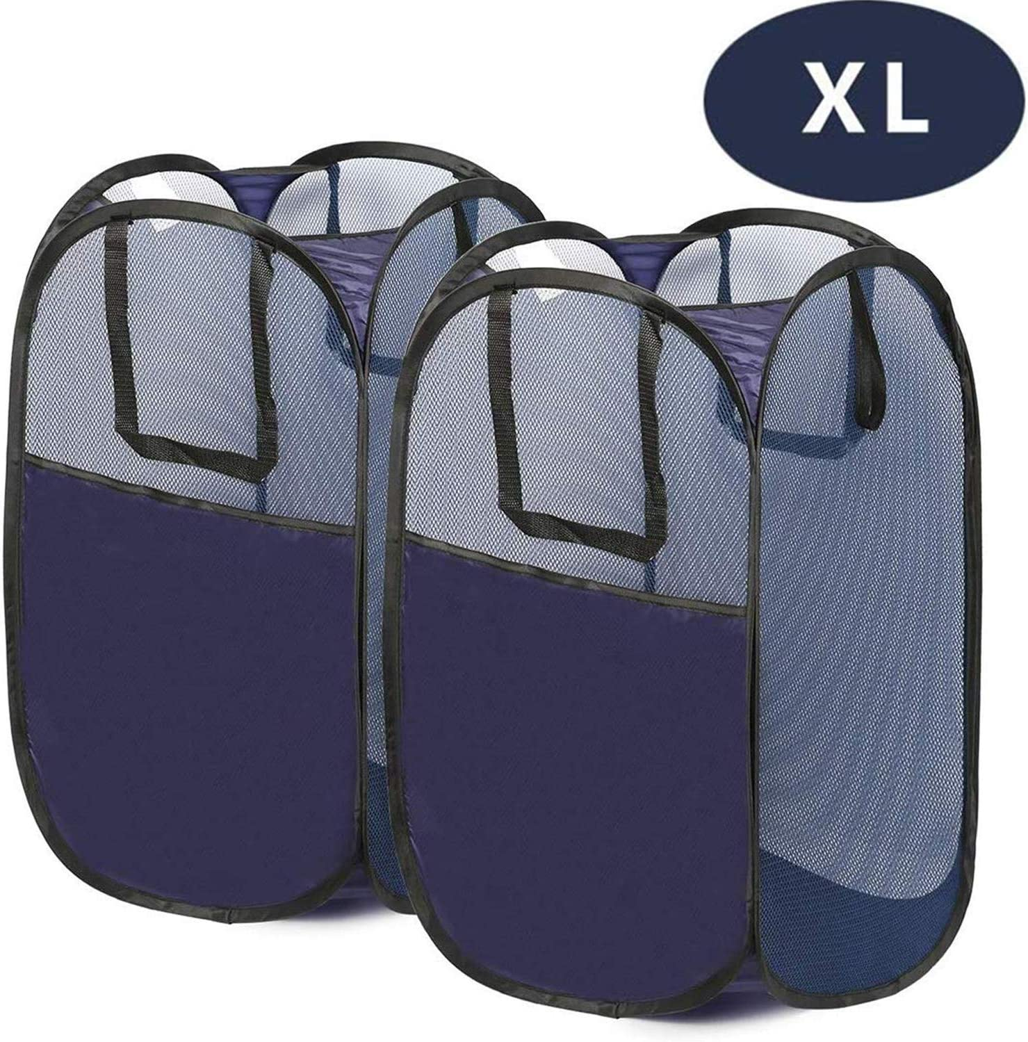 GANAMODA Mesh Laundry PopUp Hamper-Foldable Pop-Up Mesh Hamper with Reinforced Carry Handles, Collapsible for Storage and Easy to Open, Portable, 2 Pack, XL, Blue