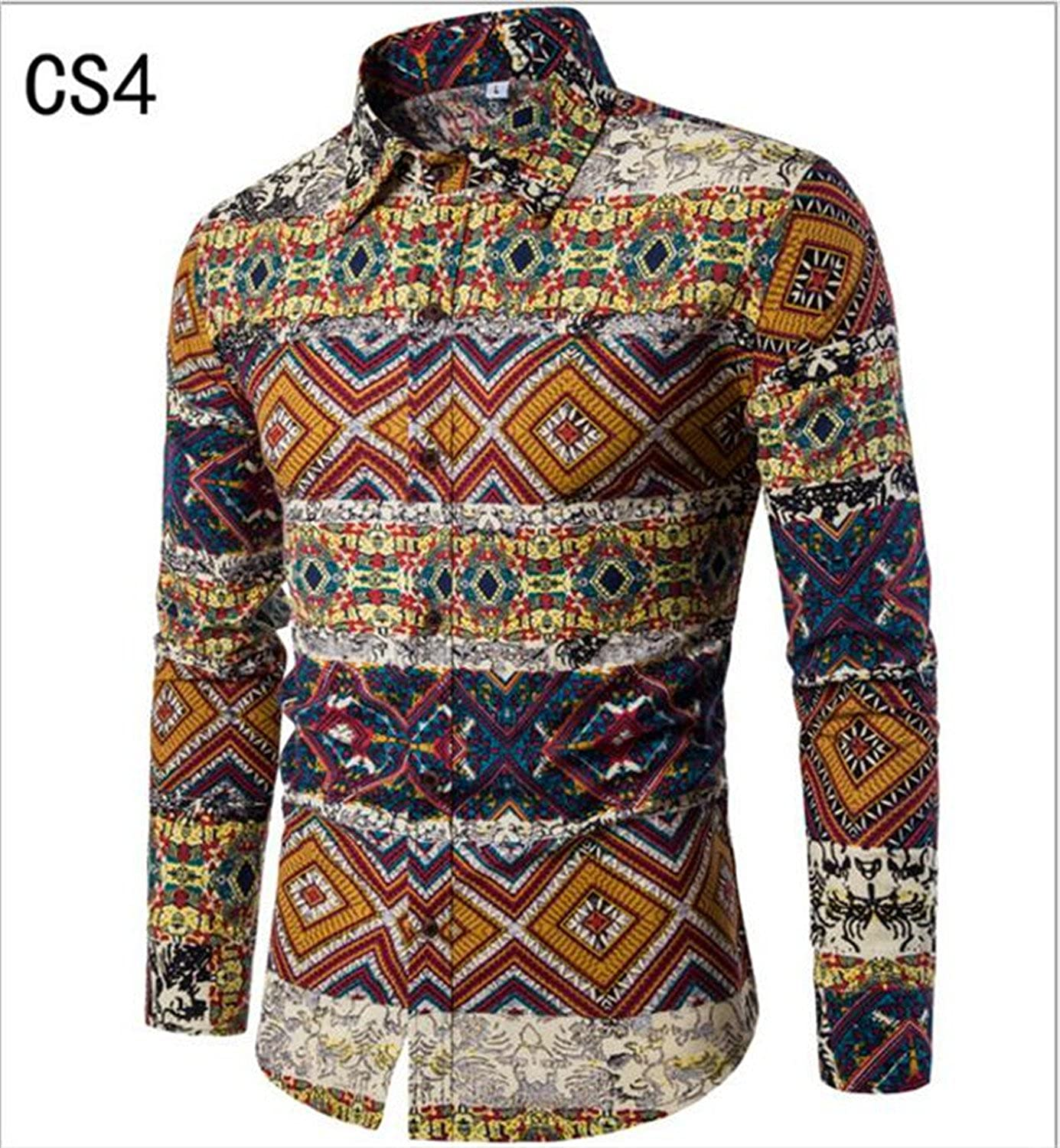 Sonjer New Special Offer Full Cotton Autumn New Fashion Flower Printed Long Sleeve Shirts Men Camisa Male Slim Vintage Casual Shirt Cs4 L at Amazon Mens ...