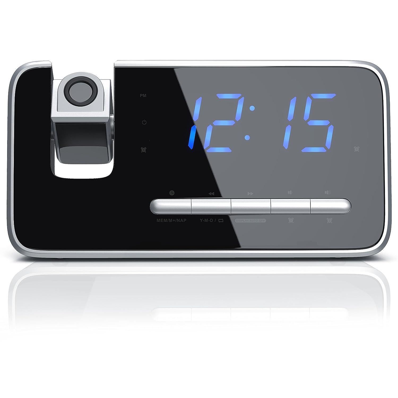 Brandson Reloj despertador digital con radio FM y proyector 180 ...