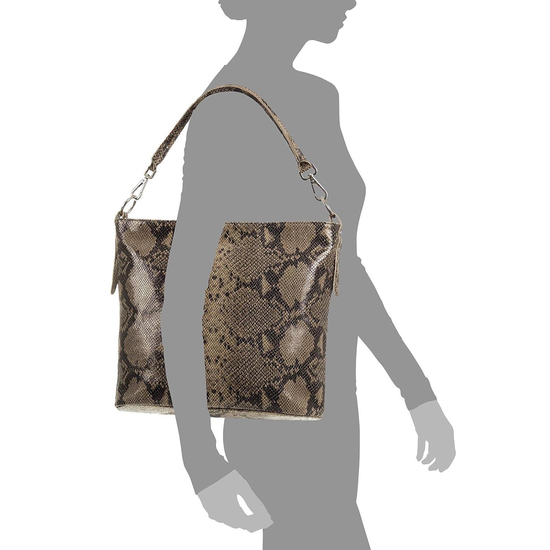 FIRENZE ARTEGIANI Color: Taupe Onorina Bolso de Hombro Mujer.Piel aut/éntica Gamuza Estampado Serpiente Vera Pelle Italiana.35x13x30 cm Made in Italy
