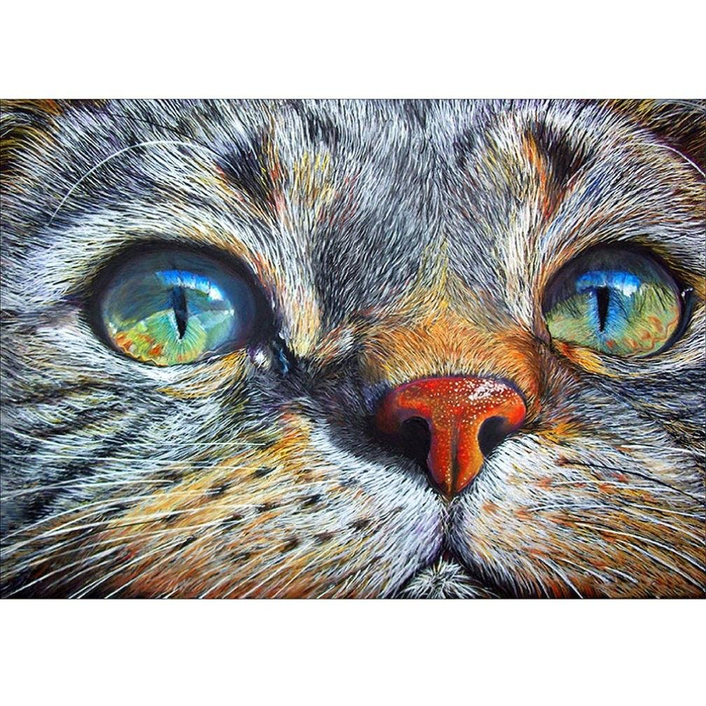 DIY 5D Full Drill Tiger Cat Mouse Diamond Painting,Jchen(TM) Home Decor Craft 5D DIY Diamond Painting Kit Pasted DIY Diamond Painting Cross Stitch (Cat)