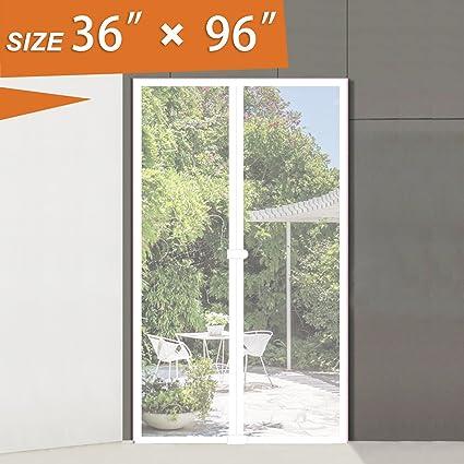 Door Screens With Magnets Heavy Duty, 36W X 96H White Door Net Screen Fit  Door