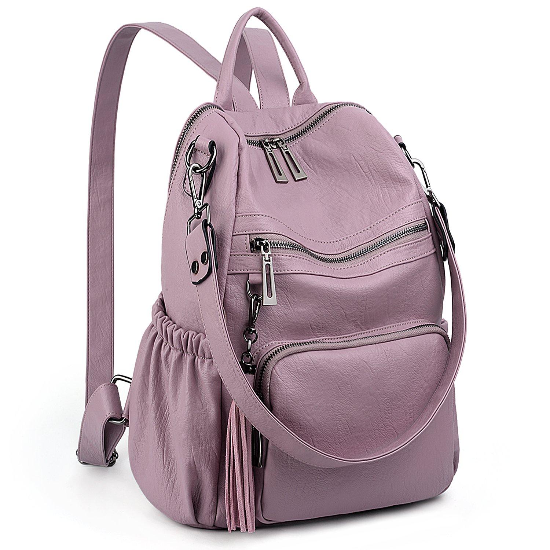 UTO Women Backpack Purse PU Washed Leather Convertible Ladies Rucksack Tassel Zipper Pocket Shoulder Bag C Light Purple by UTO
