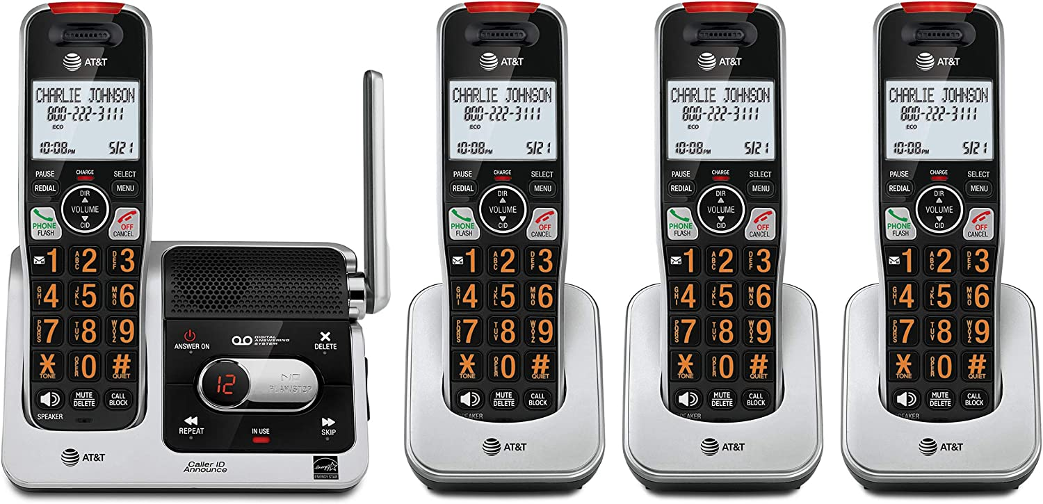 AT&T BL102-4 DECT 6.0 4-Handset Cordless Phone for Home with Answering Machine, Call Blocking, Caller ID Announcer, Audio Assist, Intercom, and Unsurpassed Range