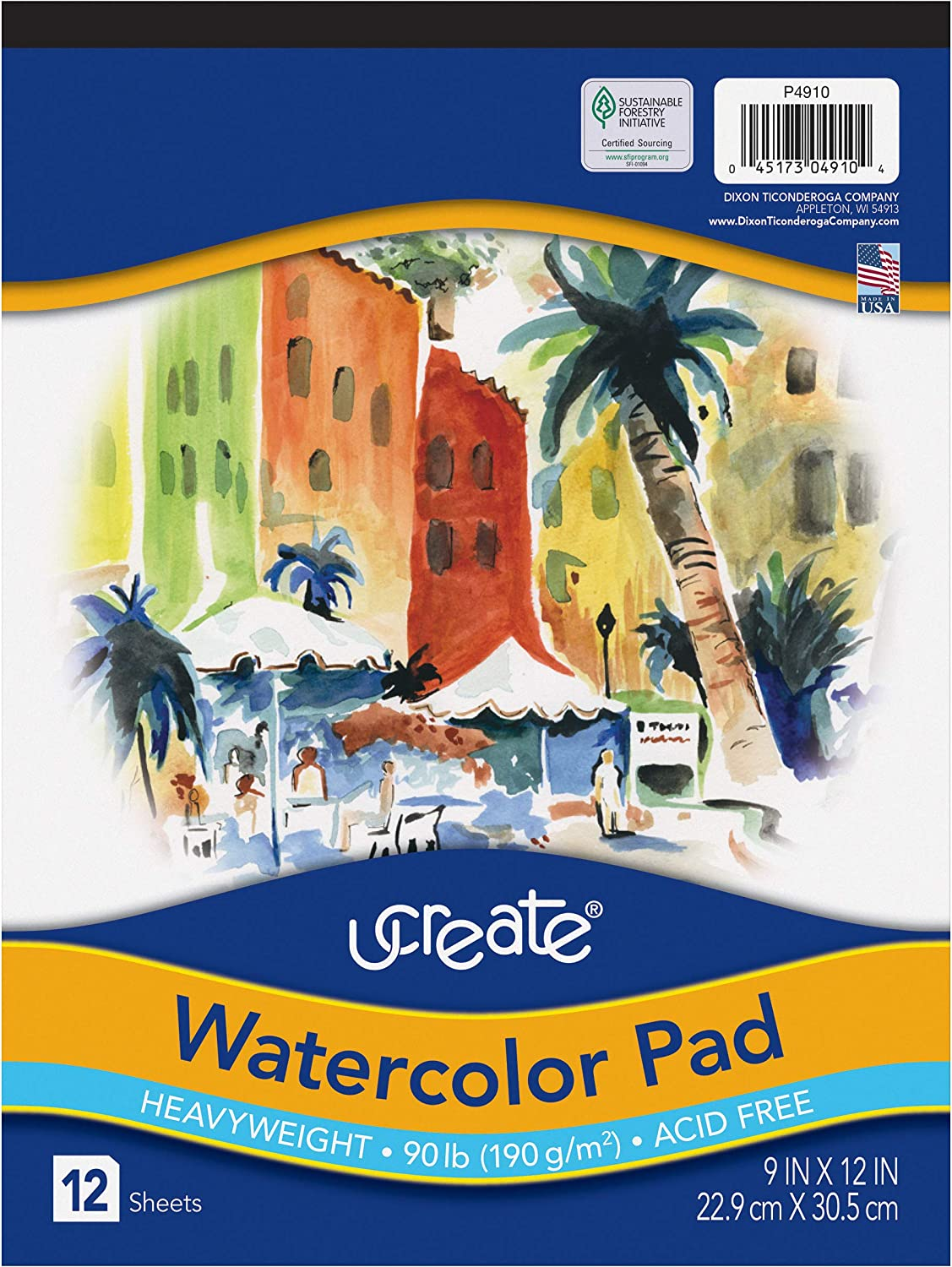 """UCreate Watercolor Pad, 90 lb, 9"""" x 12"""", 12 Sheets : Office Products"""