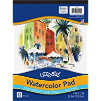 "UCreate Watercolor Pad, 90 lb, 9"" x 12"", 12 Sheets"
