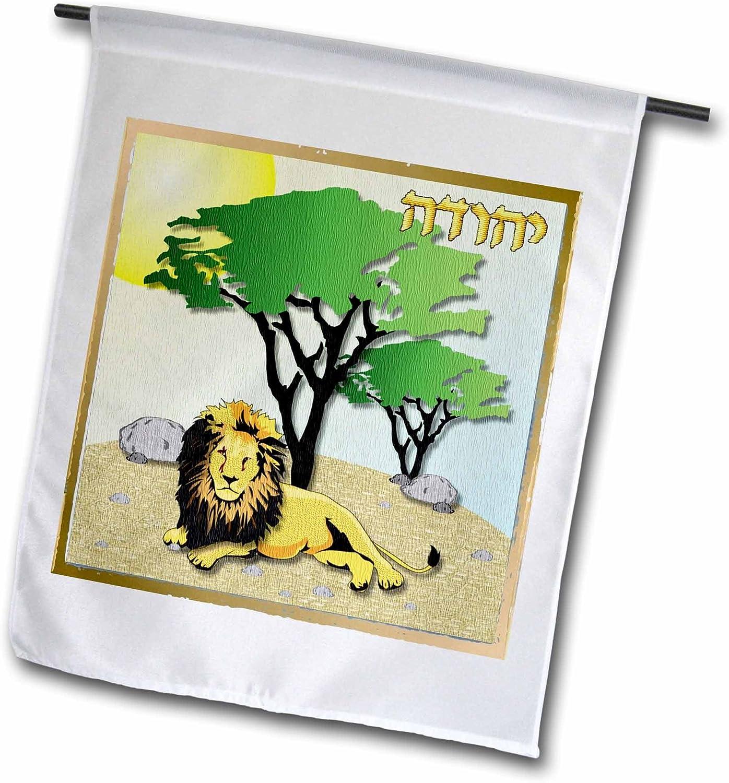 3dRose Lee Hiller Designs Judaica - 12 Tribes of Israel Art Print Judah - 18 x 27 inch Garden Flag (fl_107262_2)