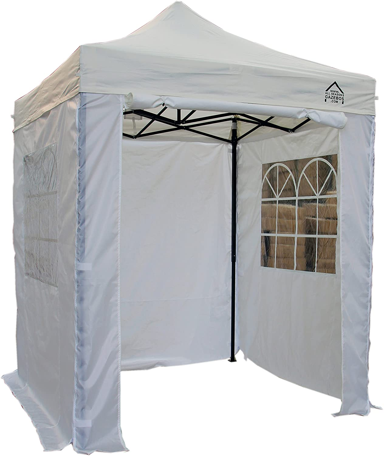 AllSeasonsGazebos Choice Of 5 Colours, 2x2m Heavy Duty, Fully Waterproof, Premium Pop Up Gazebo With 4 x Zip Up Side Panels, Carry Bag With Wheels and 4 x leg weight bags (Beige) All Seasons Gazebos