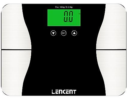 Bascula digital de baño Lencent, con analizador de grasa corporal, bascula inteligente bluetooth de