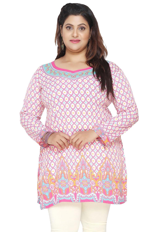 Women's Plus Size Indian Kurtis Tunic Top Printed India Clothes Eplus113p