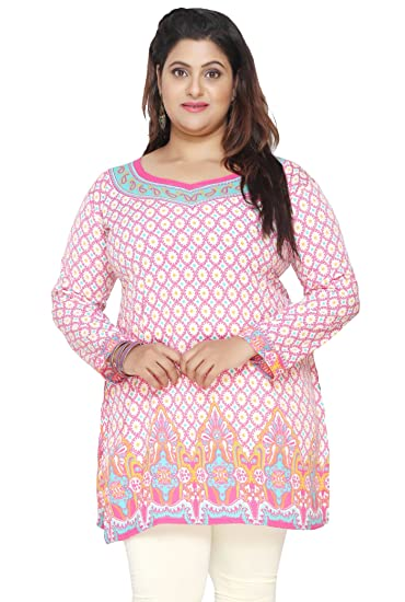 bef7eb6871f6 Maple Clothing Indian Tunics Kurti Top Printed Womens Plus Size Apparel ( Pink