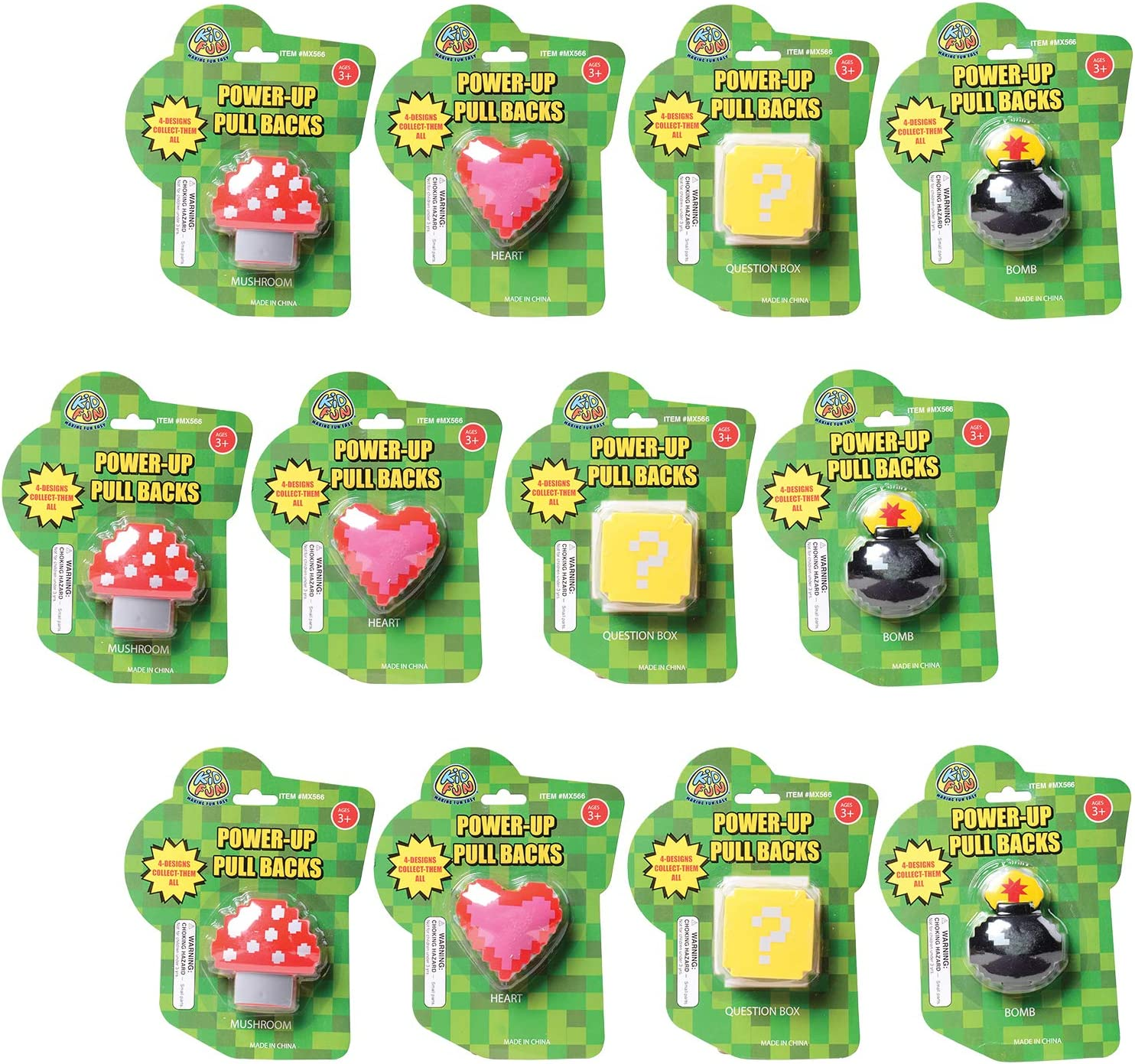 Toy Power Up Pull Backs Kids Birthday Party U.S Party Favors for Kids 12 Count Themed Toys Supplies