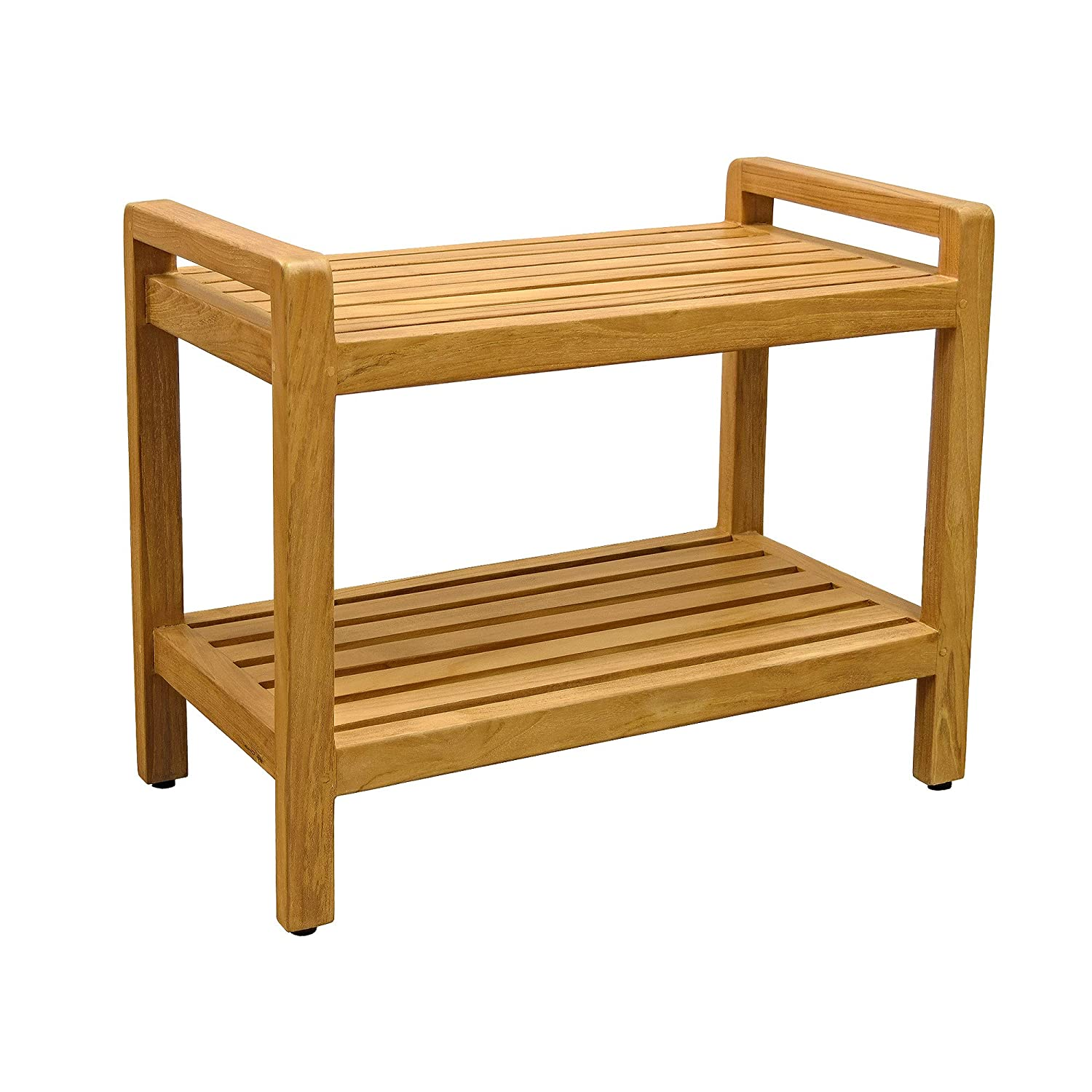 Asta Spa Teak Shower/Bath Bench mit Arms und Bottom Shelf, Amati