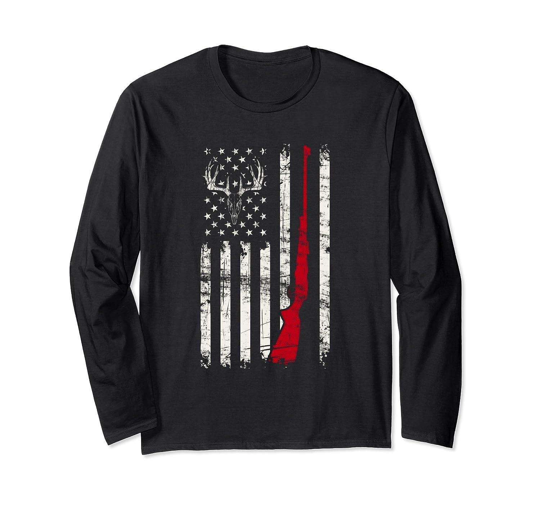 American Flag Deer Hunter Skull Rifle Long Sleeve T-Shirt-mt