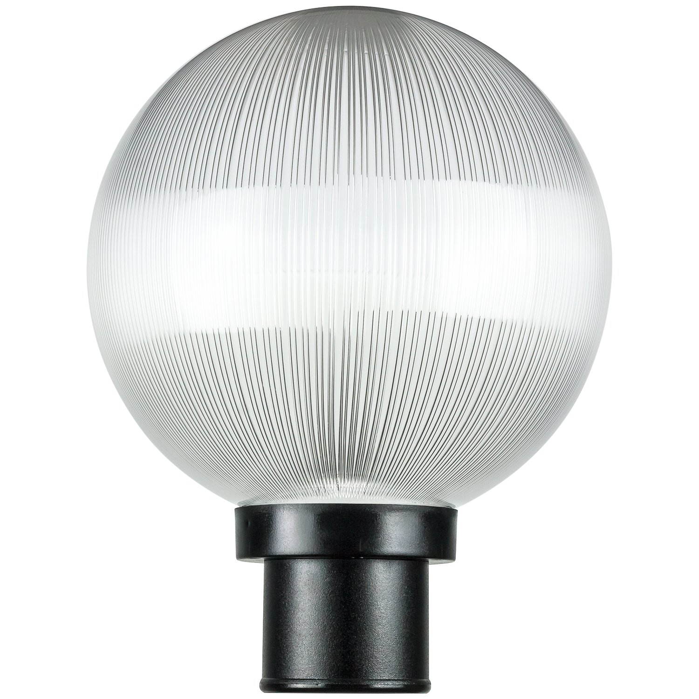 Sunlite DOD/10GL/BK/CL/MED 10'' Decorative Outdoor Twist Lock Globe Post Fixture, Black Finish, Clear Prismatic Lens, 3'' Post Mount (Not Included), 10''