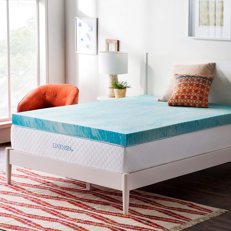 Amazon Com Linenspa 4 Inch Gel Swirl Memory Foam Topper Queen Home Kitchen