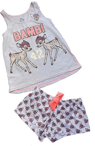 Señoras Niñas Bambi Pijama Camiseta y pantalones cortos ...