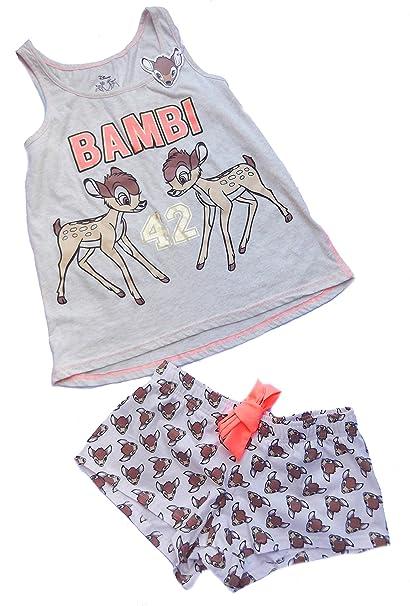Señoras Niñas Bambi Pijama Camiseta y pantalones cortos blanco crema M