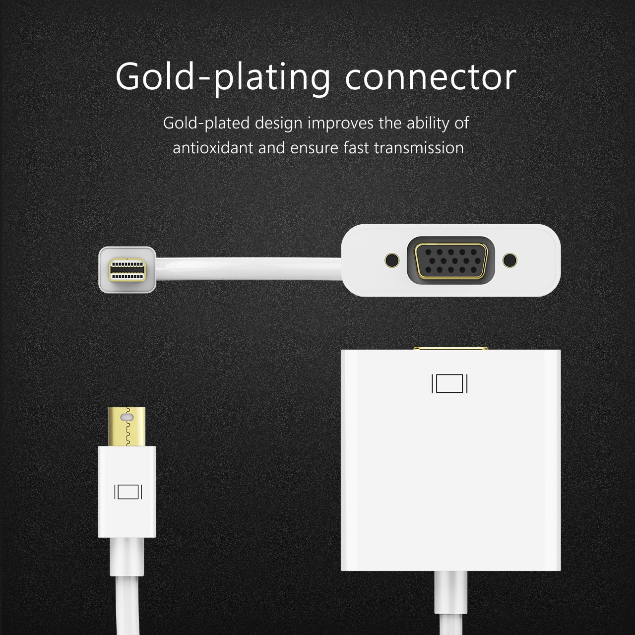 iMac Topelek Thunderbolt Cavo con adattatore Mini DisplayPort a VGA per Apple Mac Mcbook Pro Air