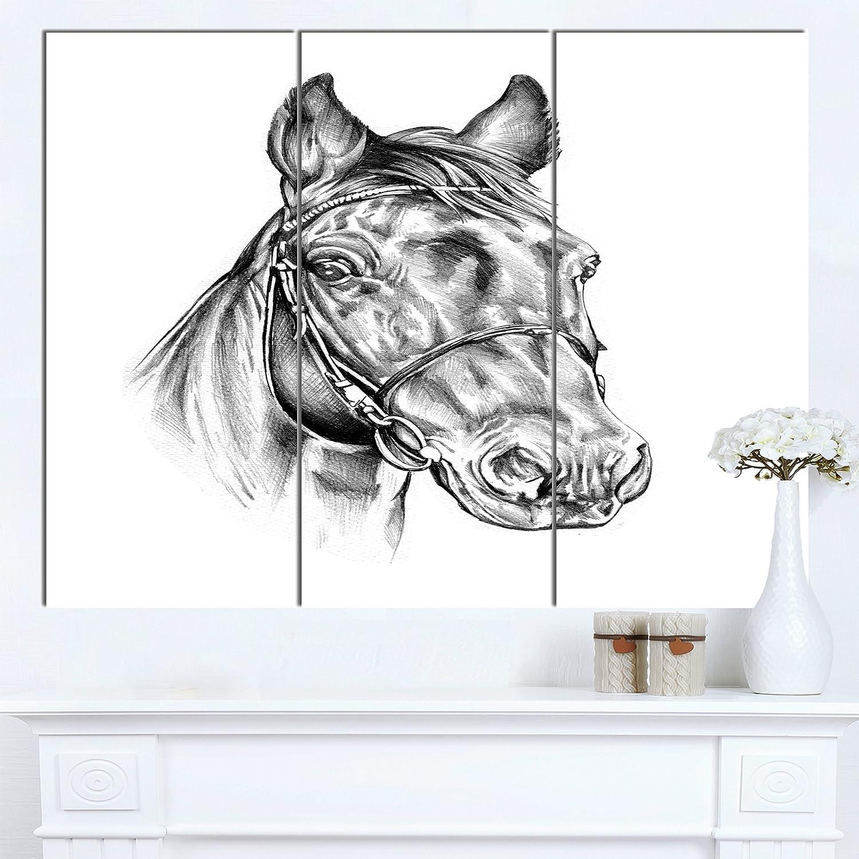 "CDM product Designart PT14928-3P Freehand Horse Head Pencil Drawing Modern Animal Canvas Wall Artwork, 36"" X 28"" big image"