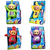 Teletubbies 30cm Kids Childrens Soft Plush Toy Set (Pack of 4) - Tinky Winky (Purple), Dipsy (Green), Laa-Laa (Yellow), Po (Red) with bonus DVDs