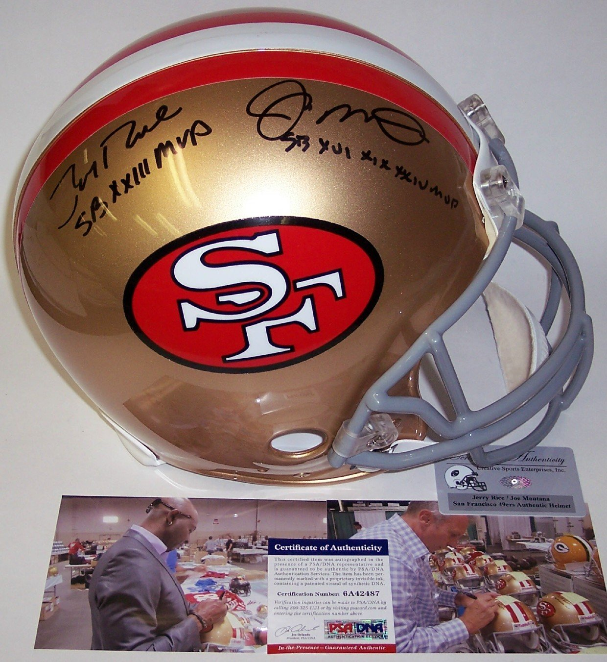 37d5ff825 ... Jerry Rice   Joe Montana Autographed Hand Signed San Francisco 49ers  Throwback Full Size Authentic Football Helmet - with SB MVP Inscriptions -  PSA DNA  ...