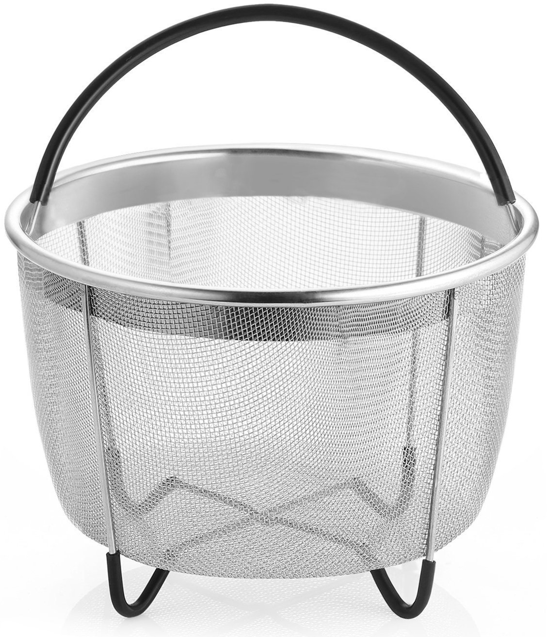 Steamer Basket Compatible Instant Pot Accessories 6 qt,Stainless Steel Strainer and Insert Fits 6qt & 8qt Other Pressure Cookers,Egg Basket with Silicone Handle and Non-Slip Legs