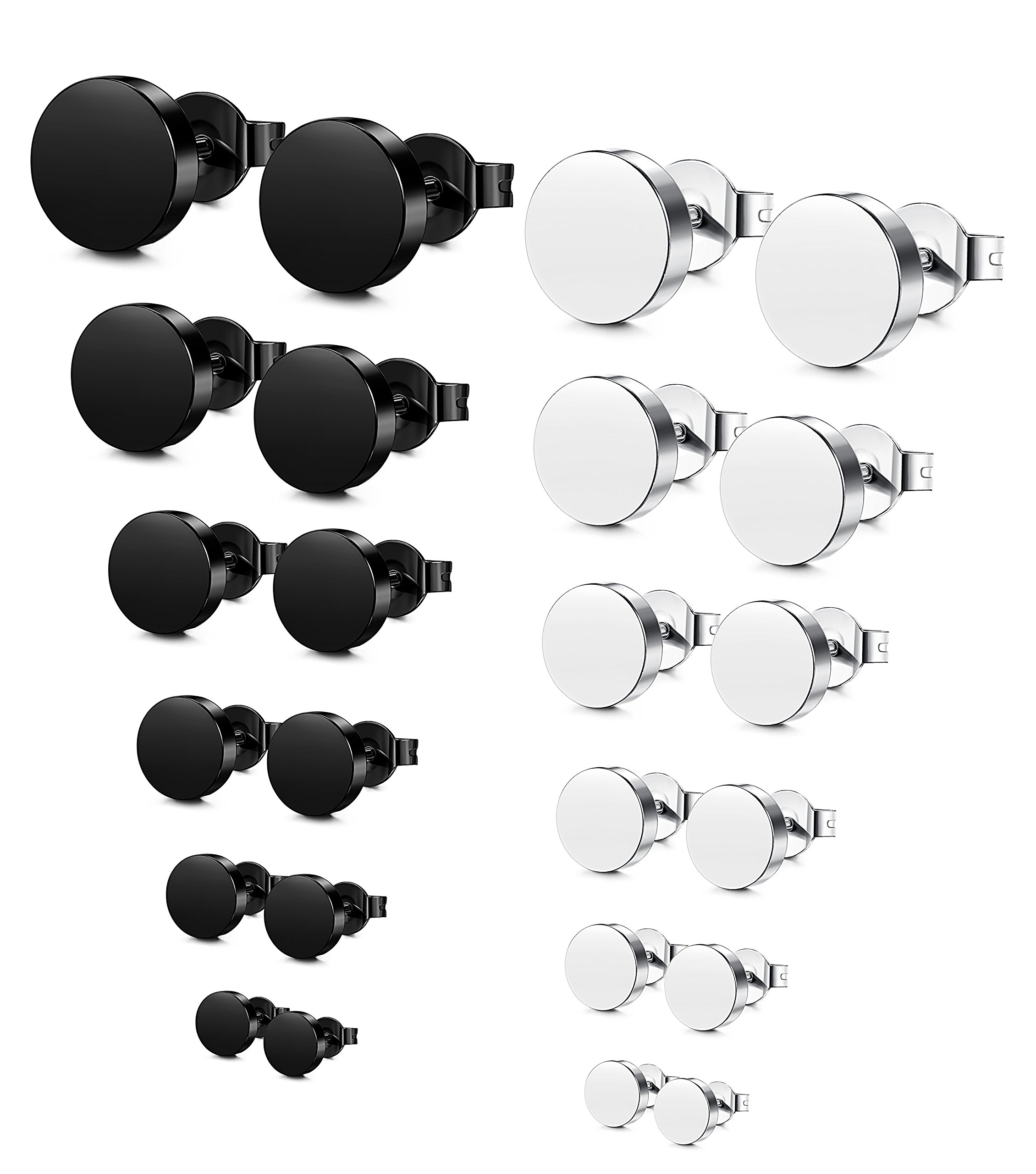Jstyle Stainless Steel Mens Womens Stud Earrings Pierced Tunnel Black 3-8mm 12 Pairs