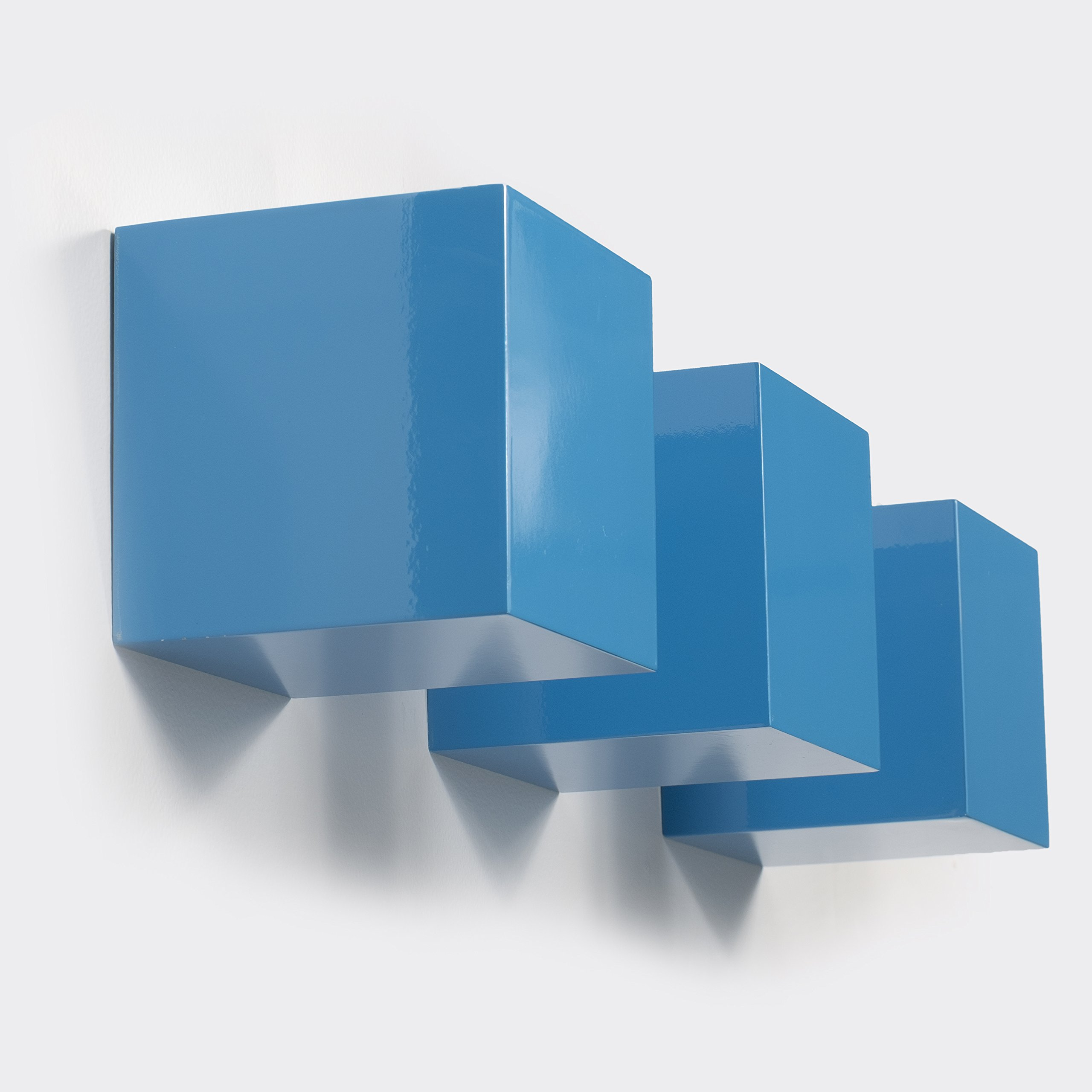 Brightmaison Kid's Nursery Room Decorative Square Wall Cubes Floating Block Shelves Set of 3 (Blue)