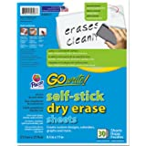 "Pacon PACASB8511 GoWrite! Dry Erase Sheets, 8.5"" x 11"", Unlined, White, Pack of 30"