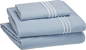 AmazonBasics Embroidered Hotel Stitch Sheet Set - Premium, Soft, Easy-Wash Microfiber - Twin-XL, Dusty Blue