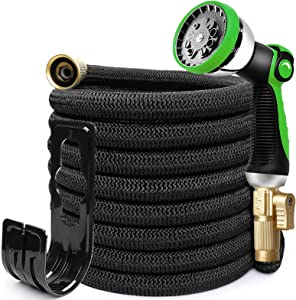 "HEYRSUN 25ft Expandable Garden Hose with 10 Function Nozzle, Leakproof Lightweight Flexible Garden Water Hose with 3/4"" Solid Brass Fittings,Extra Strength 3750D Durable Outdoor Gardening Hose Pipe"