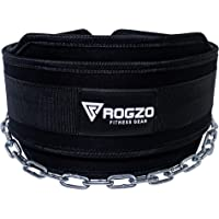 """ROGZO Weighted Dip Belt with 36"""" Heavy Duty Steel Chain - Best Double Stitched Neoprene Dipping Pull Up, Chin Up Belt for Your Bodybuilding & Weightlifting Exercises"""
