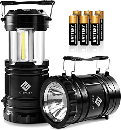 Water Resistant 10 Year Warranty Portable Collapsible Outdoor Lights Batteries Included Home Power Cuts /& Emergencies Battery Powered Equipment ETEKCITY Camping Lanterns 2pack For Hiking