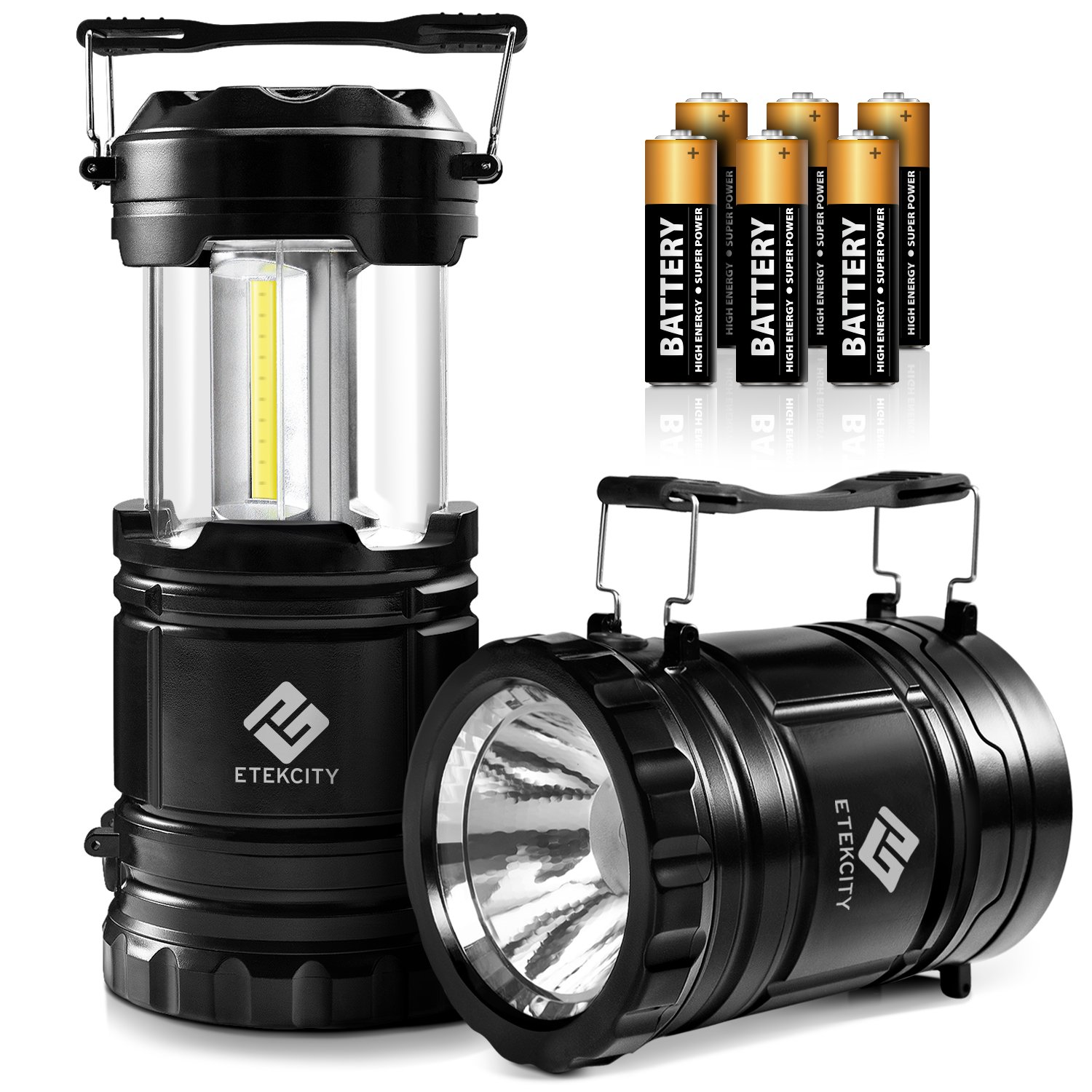 Etekcity 2 Pack LED Camping Lantern Battery Powered Flashlights Portable 2-in-1 Collapsible Lantern Lights, Survival Light for Hiking, Fishing, Reading, Hurricane, Storms, Power Outage by Etekcity